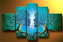5 Pieces (No Frame) Lake Blue Art Modern Abstract Couple Tree Wall Painting 100% Hand Painted Contemporary Artwork Oil Painting