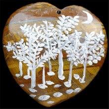Бесплатная Доставка Ювелирные Изделия Ручной Росписью Дерево Подвеска Для Ожерелье 49x50x7 мм(China)