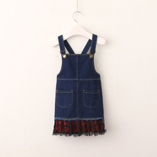Baby Girl Denim Dress 2017 New Girls Cotton Belt Dresses Fashion Elegant Kids Party Dress Korea Childrens Fall Clothes
