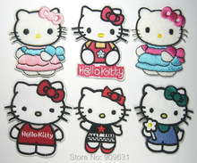Hot ! Free shipping ! 6 kinds of Hello Kitty iron on applique patch or Sew on fashion embroidery cartoon garment(China)