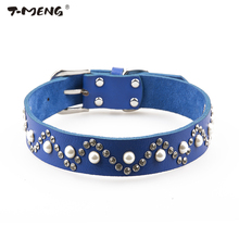 T-MENG Brand Genuine Leather Dog Collar Lead Jewelry Pearls and Diamonds Studded Necklace Pet Products Dogs Accessories Supplier
