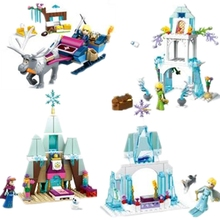 4pcs/Set Anna Elsa Kristoff's Sleigh Adventure Princess Ice Caslte Building Block Brick Figure Girls SY843 Compatible With Lego(China)