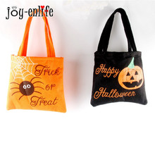 JOY-ENLIFE Halloween Tote Bags Pumpkin Spider Reusable Candy Carry Tote Halloween Children Party Favors Handbag Free Shipping