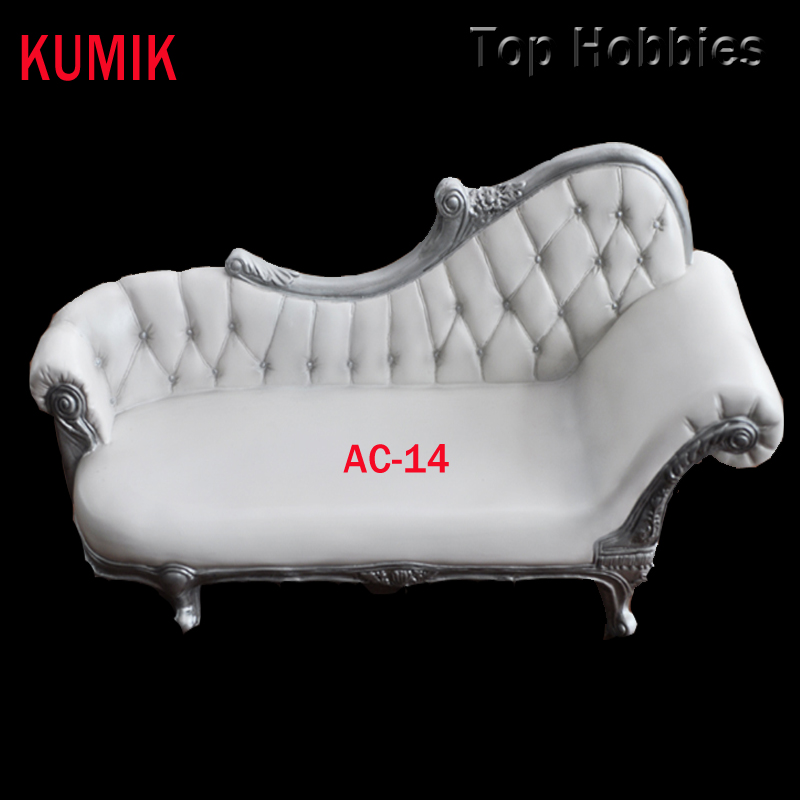 For 12 Figure Accessory Retro Furniture 1:6 KUMIK AC-14 PVC Long Sofa White Couch Leather Double Doll Chair ArmChair Model Toys<br>