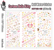 3 Sheets/Lot For Nail HOT103-105 Cartoon Hello Kitty Nail Art Wrap Water Sticker for Nail Art Decoration (3 DESIGNS IN 1)