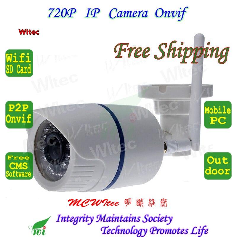 WIFI 720P IR Security Bullet ONVIF Waterproof Night Vision Support 64G SD Card P2P IP Cam IR Cut 1.0MP Network Megapixel Camera <br>