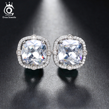 ORSA JEWELS Party Wearing Big Size 4ct Cushion Cut Multi Color CZ Crystal Stud Earrings for Girls Nickel Free OE150