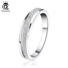 ORSA JEWELS Hot Sale Frosted Weeding Band Ring Lead & Nickel Free Silver Color Rings Best Gift for Girlfriend OR11(China)