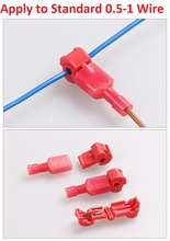 10pcs/lot L12 Red T Type Quick Splice Crimp Terminal Wire Convenient Connector For Standard 0.5-1 Wire Line Free Shipping