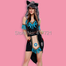 Cat Women Role Play Fancy Dress Suit Free Shipping ML5425 Sexy Cat Wolf Cosplays Halloween Adult Animal Costumes