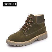 COOTELILI Women Ankle Boots Heels Lace up Casual Shoes Woman Oxfords Gray Yellow Tooling Boots Faux Suede Leather Botas Safety(China)