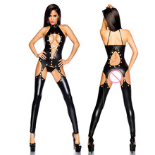 Buy Lady Sexy Black PVC Hollow Faux Leather Latex Zentai Catsuit Wetlook Jumpsuit Erotic Lingerie PU Bodysuit Club Wear Overalls