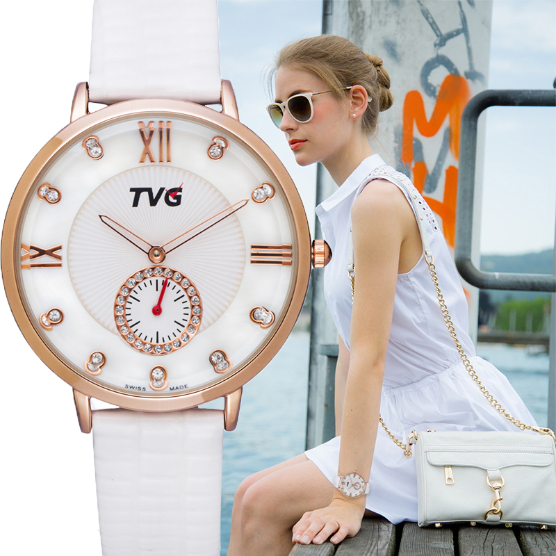 Brand TVG Women Luxury Watch Leather Strap Roman Display Watches Rhinestone Decoration Dial Ladies Wristwatches Reloj Mujer<br><br>Aliexpress