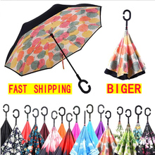 Windproof Reverse Folding Double Layer inverted car Umbrella Self Stand upside down women's rain umbrella c handle drop shipping