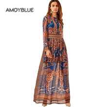 Amoyblue Fashion Deer Print Orange Women's Maxi Long Dress 2017 Style Bohemia Turtleneck Fawn Long sleeved Dresses High Quality
