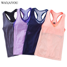 WANAYOU Fake Two Piece Sports Bra and Tank Breathable Yoga Shirt Thin Bamboo Fiber Running Vest Dry Quick Women Sport Shirt M L