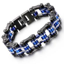 Punk Black Blue Silver Fashion Bike Motor Motorcycle Chain Titanium Stainless Steel Biker Men's Bracelet Bangle jewelry 8.66''