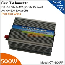 500W 18V Grid Tie Inverter, 10.5-28V DC to AC 90-140V small pure sine wave inverter working for solar or wind power system