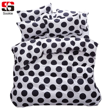 Sookie Fashion Black Dots Print Bedding Set 4pcs Duvet Cover Pillowcases Bed Sheet Sets Twin Full Queen King Size Bed Linen(China)