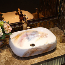 Europe style flower shape chinese washbasin sink Jingdezhen Art Counter Top ceramic bathroom sink laundry sink ceramic(China)