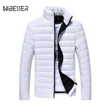 NIBESSER Brand Autum Winter Overcoat Solid Casual Male Jacket Candy Color Stand Collar Fashion Parka Cotton-Padded Men Jacket(China)