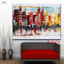 Handpainted New York City Picture   Living Room Home Decoration Wall Art ,  Modern Abstract Oil Painting on Canvas  by JYJ Art