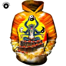 2017 Anime Monkey Hoodies Men's Hooded Sweat Shirts Brand Pullovers Autumn Long Sleeve Outerwear Plus Size Costume Tops Hoody(China)
