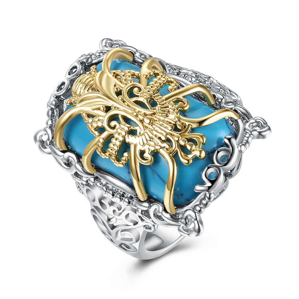 925 Silver Turquoise With Golden Flower Ring