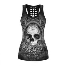 2017 3D Skull Printed Black Short Tops Sleeveless Hollow Out O neck Casual Tank Tops Female Bodybuilding Fitness Sporting Shirts