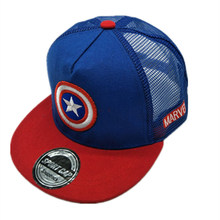 Fashion Captain America Avengers Kids Baseball Cap Net Hat Cartoon Casual Child Hip-Hop Caps Snapback Hats For Boy and Girl