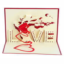 Creative 3D Greeting Cards Red Love Tree Valentine's Day Greeting Paper Card 3D Pop Up Cards For Lover Valentine's Gift JK0147