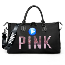 Big Capacity Women Men Sport Bag Designer Metal Sequins PINK Letters Gym Fitness Sports Bag Handbag Shoulder Yoga Bag For Female