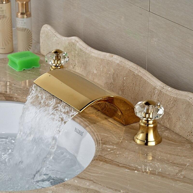 Luxury Golden Dual Handles Waterfall Basin Faucet  Bathroom Widespread Mixer Tap 3 Holes<br><br>Aliexpress