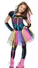 Free shipping,halloween party costume ,girl children rainbow colorful dress printing skeleton , trouses and sleeve covers
