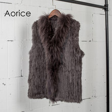 VT7008 Free shipping womens natural real rabbit fur vest with raccoon fur collar waistcoat/jackets rabbit knitted winter(China)
