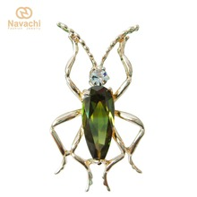 Navachi Green Zircon Crystal Yellow GP Ladybug Beetle Bug Brooch Pin Brooches Pins SMT7461(China)