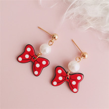 Doreen Box Bowtie New Fashion Women Stud Earrings White Imitation Pearls Red Girls Trend Gold Color Earrings Jewelry, 1 Pair