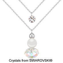 White Gold Color Multi Layer Chians Necklace, Made With SWAROVSKI ELEMENTS Ball Shaped Crystal Valentine Necklace 11527