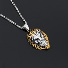 MCSAYS Punk Jewelry Lion Head Gold Side Sliver Color Stainless Steel PendantBox Chain Necklace For Biker Men/Women Gift 3GM(China)