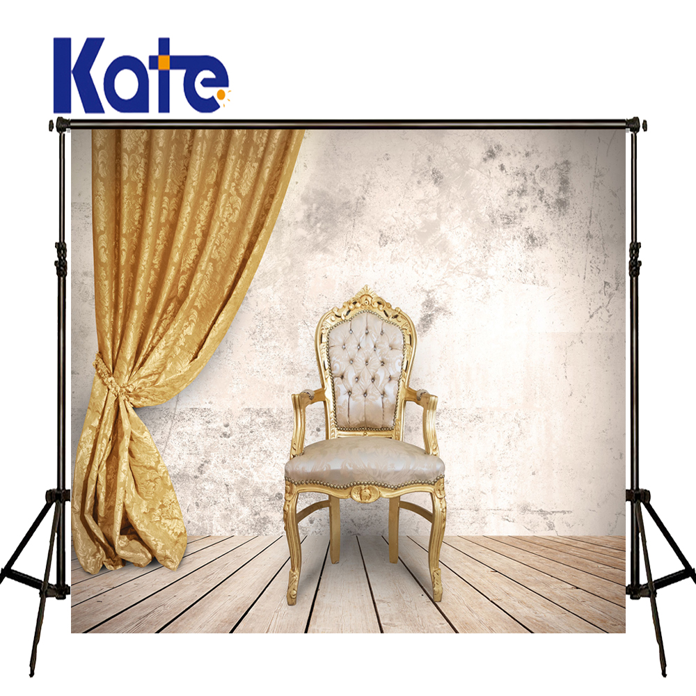 KATE Indoor Wedding Backdrop Wood Floor and Solid Brick Wall Backdrops Golden Curtain Background for Children Photo Shoot Stduio<br>