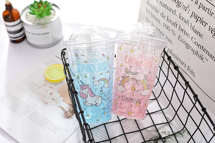 450ml Plastic Water Bottle with Straw My Creative Unicorn Summer Cool Outdoor Portable Ice Bottle for Water Home Office Kettle (4)