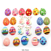 Happy Easter Day! 5 Pieces Each Of One Group Easter Day Flat Back Resin DIY Handmade Accessories Holiday Resin