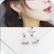 Jewelry personality simple big fringed 4 metal beads ring earrings small beads swing lively Aura earrings wholesale Brincos 2017(China)
