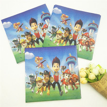 20pcs Peluche Patrol Paper Napkin Cartoon Theme Party For Kids Birthday Decoration Theme Party Supplies  Festival Blue