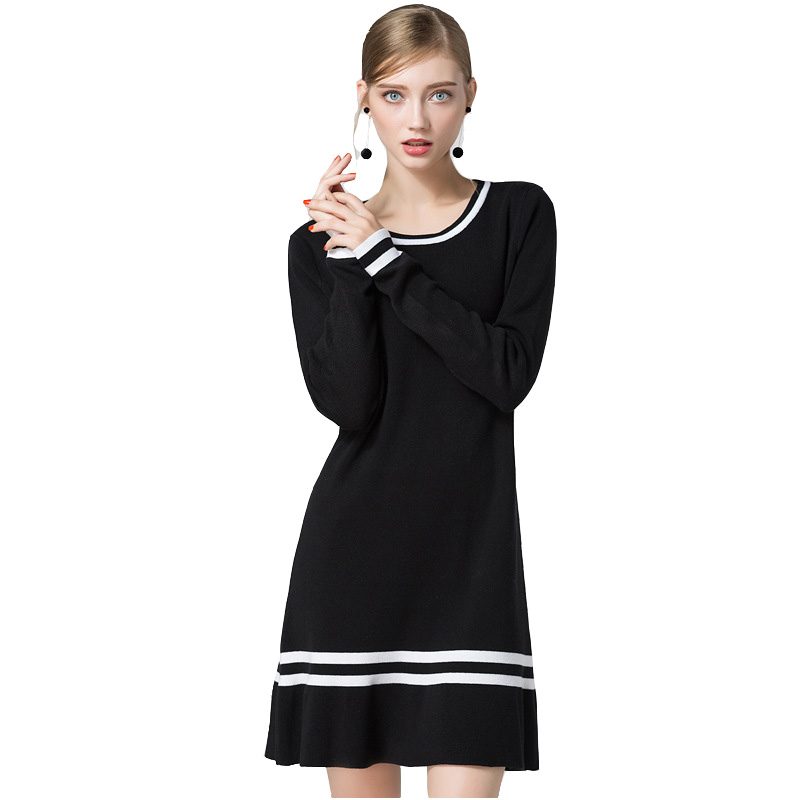 HMCHIME 2017 Autumn winter women knitted dress fashion sexy long sleeve round collar black color ruffles woman dress HM674Îäåæäà è àêñåññóàðû<br><br>