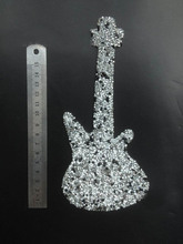 Free ship custom big 8x18cm guitar/lute Hotfix Motifs Iron on transfer rhinestones patches crystal stone Applique For clothing