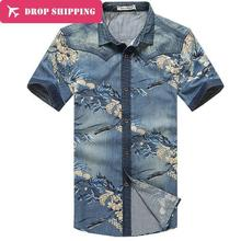 Mens Washed Denim Shirts Short Sleeve Slim Fit Big Size 5XLOutdoor Cotton Dress Casual Blouse Camisa Masculina New Arrival GX110