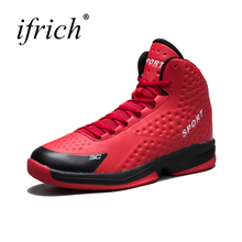 Ifrich Super Cool Mens Basketball Shoes Leather Men Sneakers Brand Shoes Lace Up Basket Shoes Male Rubber High Top Footwear