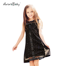 AuroraBaby Girls Dresses Black Cute Bowknot Sequined Decoration Dress For Summer Autumn Kids Children's Clothes size 6-16T Party(China)