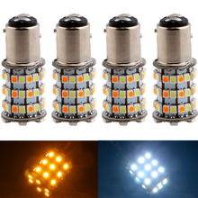 High Lumen!! 4PCS 1157 3528 60 SMD Amber/White 60LEDs 1210 LED Bulbs S25 DRL Turn Signal Light Switchback(China)